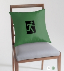 Running Man Exit Sign Throw Pillow Cushion 73