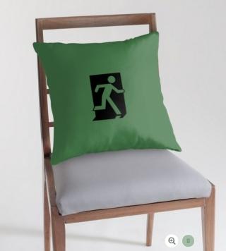 Running Man Exit Sign Throw Pillow Cushion 73