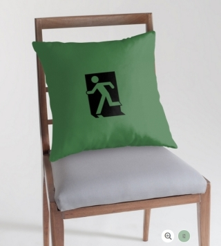 Running Man Exit Sign Throw Pillow Cushion 74