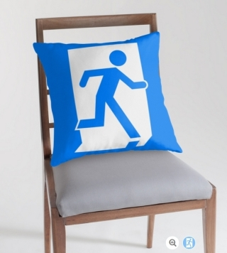 Running Man Exit Sign Throw Pillow Cushion 77