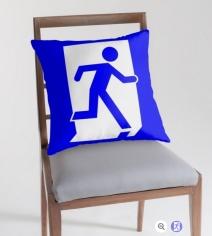 Running Man Exit Sign Throw Pillow Cushion 77
