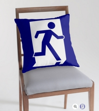 Running Man Exit Sign Throw Pillow Cushion 79