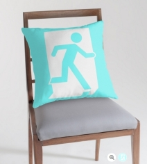 Running Man Exit Sign Throw Pillow Cushion 80