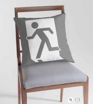 Running Man Exit Sign Throw Pillow Cushion 81
