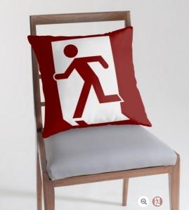 Running Man Exit Sign Throw Pillow Cushion 82