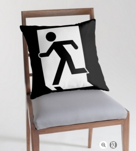 Running Man Exit Sign Throw Pillow Cushion 83