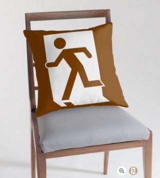 Running Man Exit Sign Throw Pillow Cushion 85