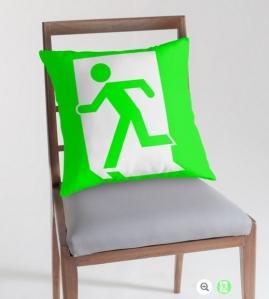 Running Man Exit Sign Throw Pillow Cushion 86