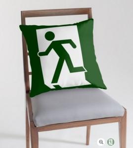 Running Man Exit Sign Throw Pillow Cushion 87