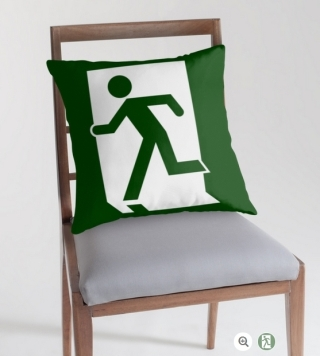 Running Man Exit Sign Throw Pillow Cushion 87