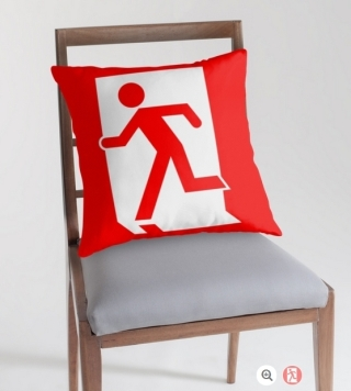 Running Man Exit Sign Throw Pillow Cushion 88