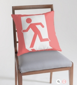 Running Man Exit Sign Throw Pillow Cushion 89
