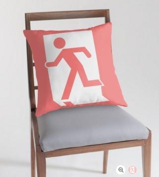 Running Man Exit Sign Throw Pillow Cushion 89