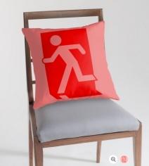 Running Man Exit Sign Throw Pillow Cushion 90