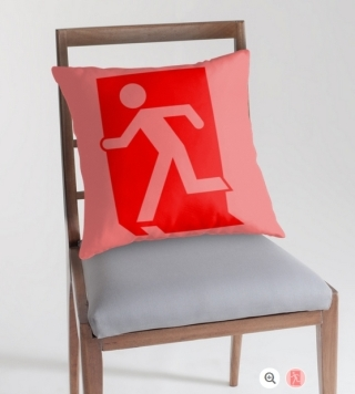 Running Man Exit Sign Throw Pillow Cushion 90