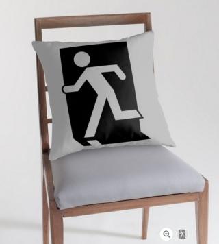Running Man Exit Sign Throw Pillow Cushion 91