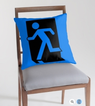 Running Man Exit Sign Throw Pillow Cushion 93