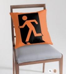 Running Man Exit Sign Throw Pillow Cushion 94