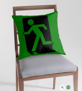 Running Man Exit Sign Throw Pillow Cushion 95
