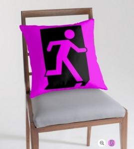 Running Man Exit Sign Throw Pillow Cushion 96