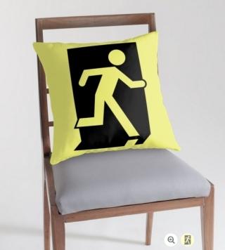 Running Man Exit Sign Throw Pillow Cushion 97