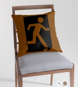 Running Man Exit Sign Throw Pillow Cushion 98