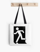 Running Man Exit Sign Tote Shoulder Carry Bag 24