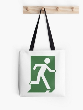 Running Man Exit Sign Tote Shoulder Carry Bag 28