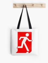 Running Man Exit Sign Tote Shoulder Carry Bag 30