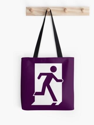 Running Man Exit Sign Tote Shoulder Carry Bag 32