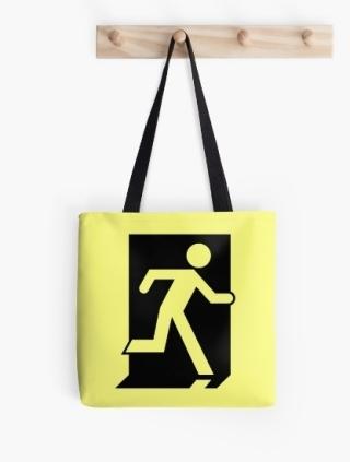 Running Man Exit Sign Tote Shoulder Carry Bag 36