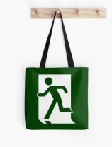 Running Man Exit Sign Tote Shoulder Carry Bag 46