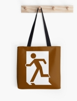 Running Man Exit Sign Tote Shoulder Carry Bag 48