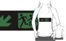 Accessible Means of Egress Icon Exit Sign Wheelchair Wheelie Running Man Symbol by Lee Wilson PWD Disability Emergency Evacuation Adult T-shirt 100