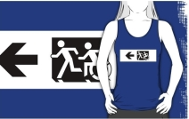 Accessible Means of Egress Icon Exit Sign Wheelchair Wheelie Running Man Symbol by Lee Wilson PWD Disability Emergency Evacuation Adult T-shirt 10