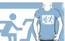 Accessible Means of Egress Icon Exit Sign Wheelchair Wheelie Running Man Symbol by Lee Wilson PWD Disability Emergency Evacuation Adult T-shirt 101