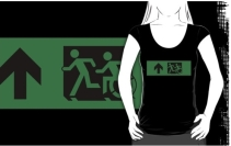 Accessible Means of Egress Icon Exit Sign Wheelchair Wheelie Running Man Symbol by Lee Wilson PWD Disability Emergency Evacuation Adult T-shirt 102