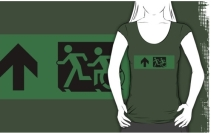 Accessible Means of Egress Icon Exit Sign Wheelchair Wheelie Running Man Symbol by Lee Wilson PWD Disability Emergency Evacuation Adult T-shirt 103
