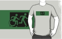 Accessible Means of Egress Icon Exit Sign Wheelchair Wheelie Running Man Symbol by Lee Wilson PWD Disability Emergency Evacuation Adult T-shirt 104