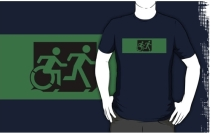 Accessible Means of Egress Icon Exit Sign Wheelchair Wheelie Running Man Symbol by Lee Wilson PWD Disability Emergency Evacuation Adult T-shirt 105