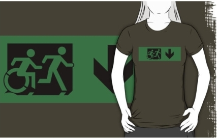 Accessible Means of Egress Icon Exit Sign Wheelchair Wheelie Running Man Symbol by Lee Wilson PWD Disability Emergency Evacuation Adult T-shirt 106
