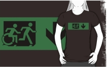 Accessible Means of Egress Icon Exit Sign Wheelchair Wheelie Running Man Symbol by Lee Wilson PWD Disability Emergency Evacuation Adult T-shirt 107