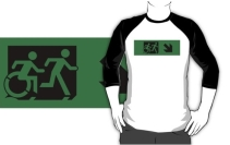 Accessible Means of Egress Icon Exit Sign Wheelchair Wheelie Running Man Symbol by Lee Wilson PWD Disability Emergency Evacuation Adult T-shirt 108