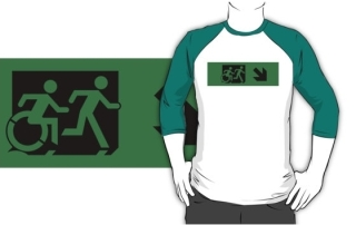 Accessible Means of Egress Icon Exit Sign Wheelchair Wheelie Running Man Symbol by Lee Wilson PWD Disability Emergency Evacuation Adult T-shirt 109