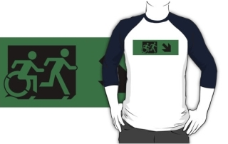 Accessible Means of Egress Icon Exit Sign Wheelchair Wheelie Running Man Symbol by Lee Wilson PWD Disability Emergency Evacuation Adult T-shirt 110