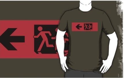 Accessible Means of Egress Icon Exit Sign Wheelchair Wheelie Running Man Symbol by Lee Wilson PWD Disability Emergency Evacuation Adult T-shirt 11