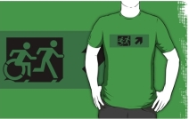 Accessible Means of Egress Icon Exit Sign Wheelchair Wheelie Running Man Symbol by Lee Wilson PWD Disability Emergency Evacuation Adult T-shirt 111