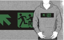 Accessible Means of Egress Icon Exit Sign Wheelchair Wheelie Running Man Symbol by Lee Wilson PWD Disability Emergency Evacuation Adult T-shirt 113