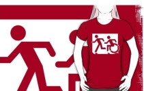 Accessible Means of Egress Icon Exit Sign Wheelchair Wheelie Running Man Symbol by Lee Wilson PWD Disability Emergency Evacuation Adult T-shirt 114