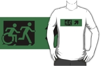 Accessible Means of Egress Icon Exit Sign Wheelchair Wheelie Running Man Symbol by Lee Wilson PWD Disability Emergency Evacuation Adult T-shirt 115